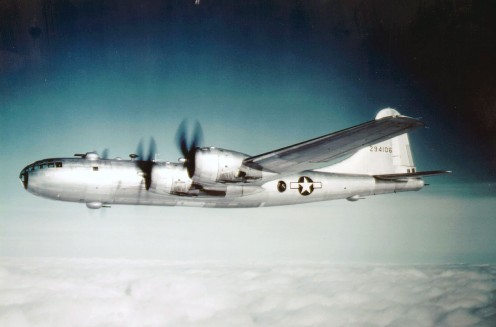 A B-29 on a long range mission in 1945 near the end of the war. The B-29 Superfortress was designed to make strategic bombing a reality.
