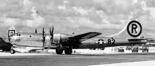 The Enola Gay taking off from Tinian Island it would be the first plane to deliver the atom bomb.