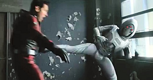 Ant-Man fighting the supervillain Ghost.