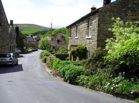Lofthouse-in-Nidderdale looking downhill. The gradient towards Leighton Reservoir is steep and sharply winding, but only to the brow of the hill. It eases off and descends gradually - in places steeper - eastward through Healey and Fearby to Masham