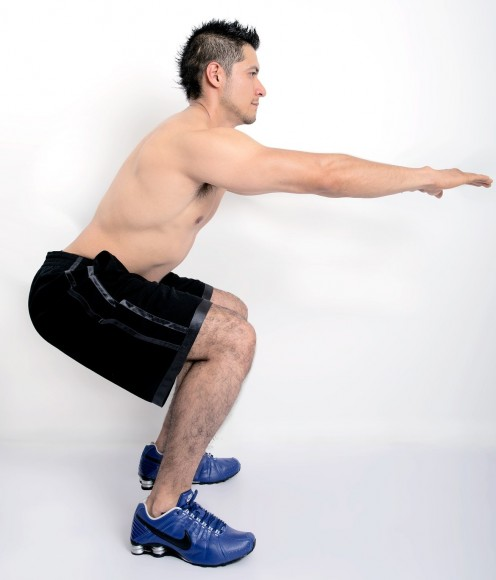 Half squat with only one's body weight.