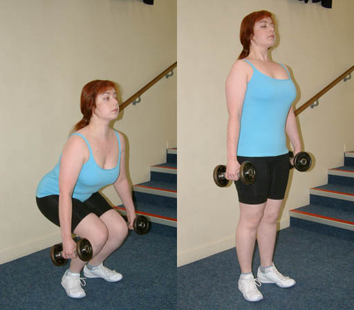 Squats with dumbbells.