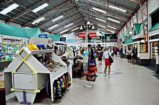 Cruise passengers shop at the Bridgetown Cruise Terminal.
