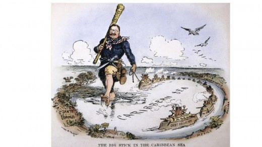 William Allen Rogers's 1904 cartoon recreates the Big Stick ideology as an episode in Gulliver's Travels