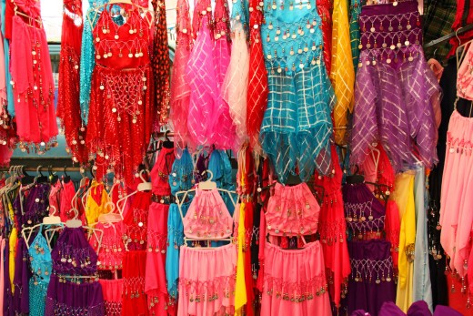 Belly dancing dresses in a local market in Turkey.