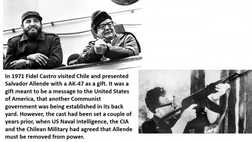 Fidel Castro visits Chile and gives Allende a Russian assault rifle as a gift.