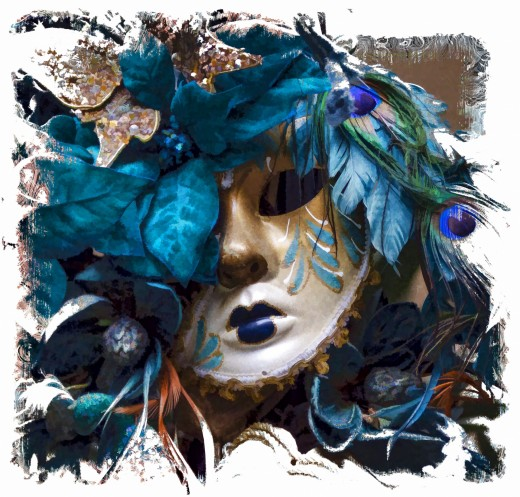 A blue carnival mask for Mardi Gras celebration.