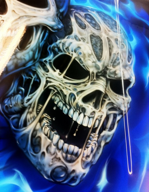 airbrush painting of a skull