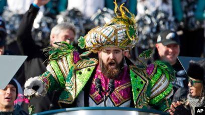 Eagles Center (Mummer) Jason Kelce at the Super Bowl Parade