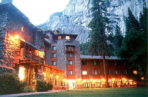 The Ahwahnee hotel at sunset