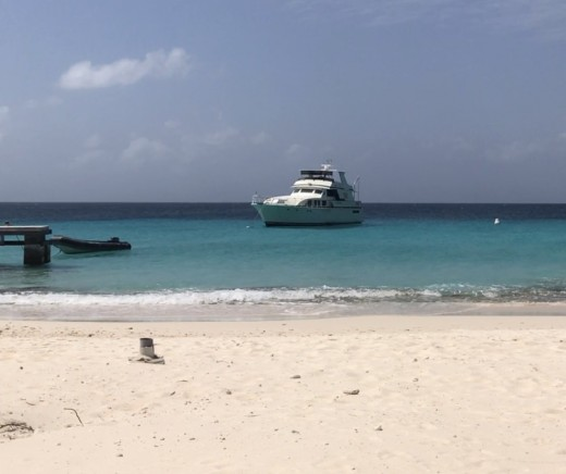 One of the luxury boats at Klein Curacao.