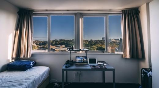 College dorm room.