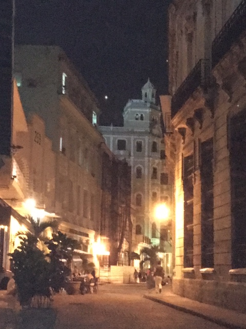 Cuban street at night in Old Havana