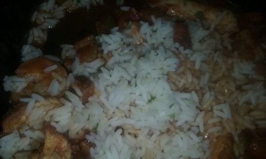 Jambalaya served with white rice.