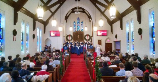 St. Luke's at Christmas--note Bavarian influence and intimate charm