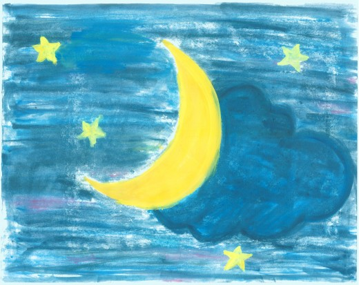 Water colour painting of the crescent moon