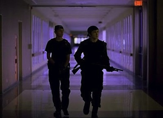 The film seems to deliberately evoke the memories and media images of Columbine to dramatic effect.