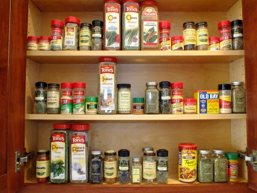 Keep items that you use most often near the bottom of your cabinet for ease of use.