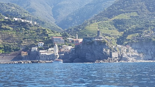 View of the Doria Burg  the Watchtower, the Church of Santa Margherita  d´Antiochia Vernazza from the boat
