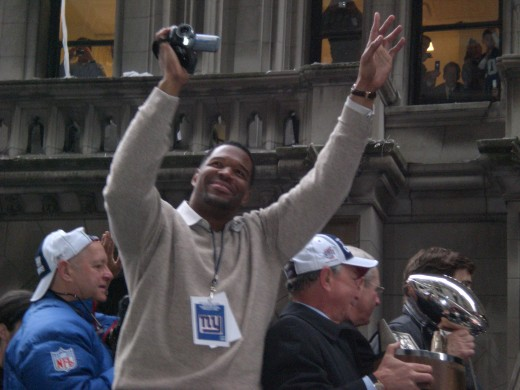 Michael Strahan in Super Bowl Parade XLII Parade, New York City