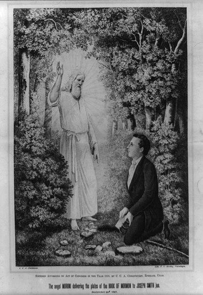 Moroni delivers the Book of Mormon to Joseph Smith