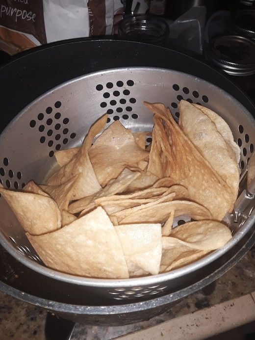 Fresh fried tortilla chips