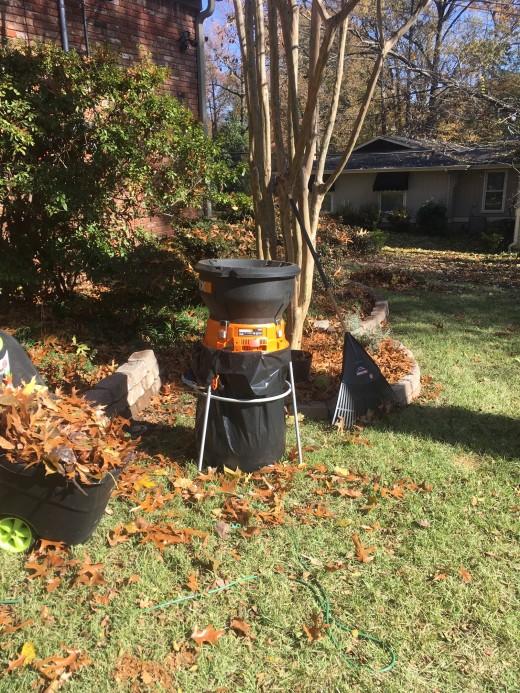 Leaf shredder, rake and wagon.