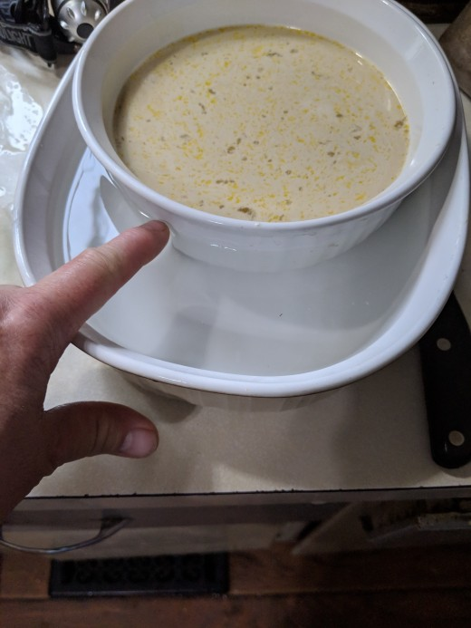 add water to large corning ware