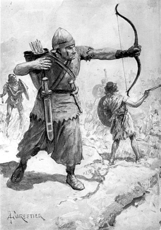 Syrian Archer and Slingers as Auxiliary troops in the Roman army. Attribution: Amedee Forestier (1854-1930)