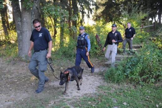 Canine search for Dulce Marie Alavez at Bridgeton City Park. Photo courtesy of Joe Warner/NJ Advance Media.