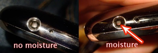 It is very subtle, but notice the pink color in the hole on the iPhone on the right compared to the one on the left.