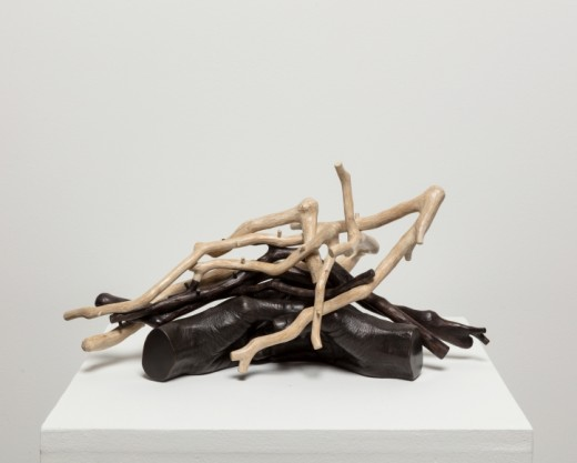 Sherry Owens, Widows and Maidens 7, 2019, Bronze, patina, crepe myrtle, dye, milk paint, wax, 8.25h x 16.75w x 9d inches