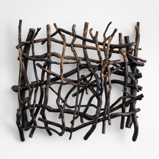 Sherry Owens, Abandoned Fields Adust 2, 2019, Crepe myrtle, oil, wax, 22.25h x 24.50w x 5.63d inches