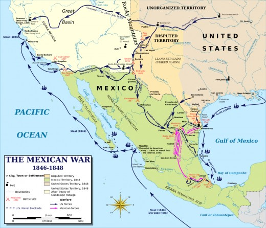 Map of the Mexican American War.