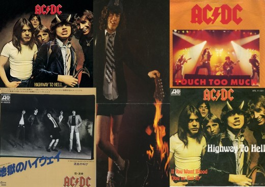 """AC/DC Highway to Hell 7"""" Singles - Clockwise from top left; """"Highway to Hell"""" Standard, """"Girls Got Rhythm"""" EP, """"Touch Too Much"""" UK cover, """"Highway to Hell"""" German cover, """"Highway to Hell"""" Japanese Promo."""