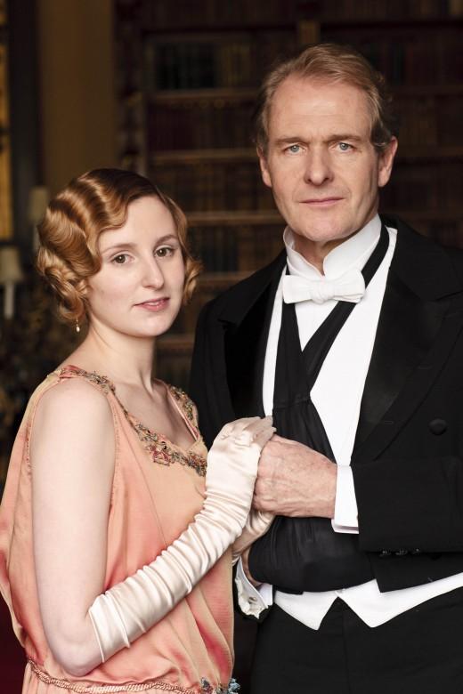 Laura Carmichael as Lady Edith Crawley with Robert Bathurst as Sir Anthony Strallan.