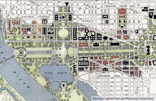 This map shows the logic, order and rationale of the Washington/L'Enfant city plan