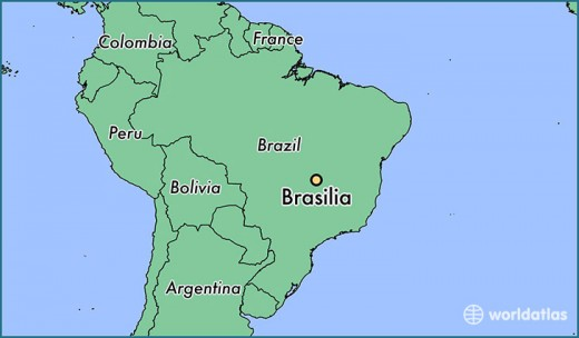 Map of Brazil, indicating distance of Brasilia from the coast