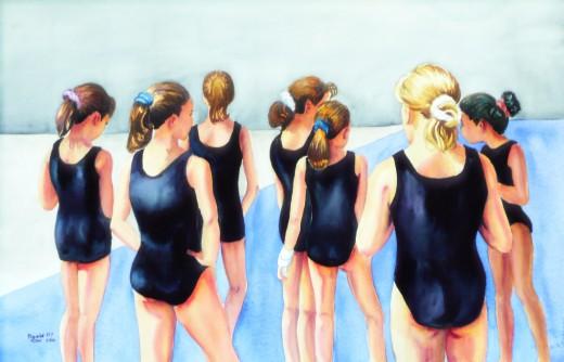 "Watercolor ""The Gymnasts"""