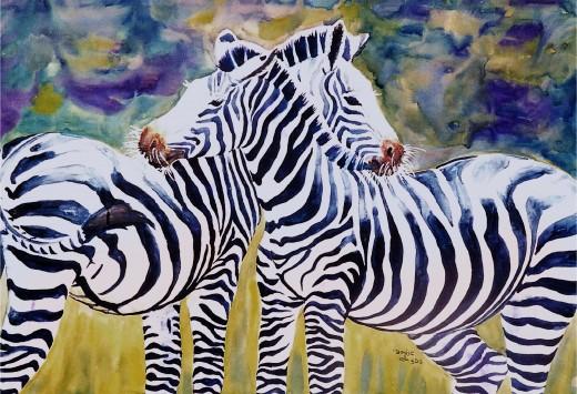 """Watercolor """"Zebra Friends"""""""