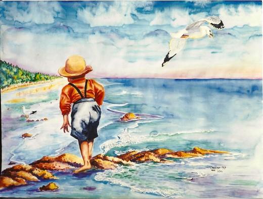"""Watercolor """"The Sea Gull"""""""