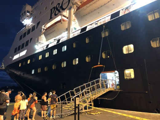 Boarding the Pacific Aria at Noumea