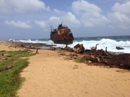 The shipwreck at Klein Curacao.