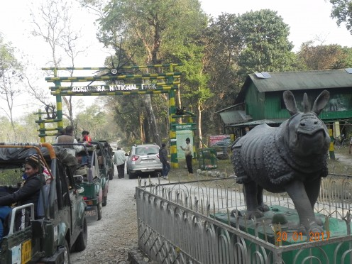 Open Gypsy vehicles along with tourists waiting in front of the entrance gate for safari