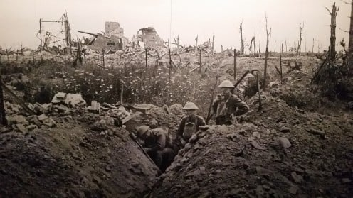 This photo of a trench during World War 1 symbolizes the song ManUnkind.