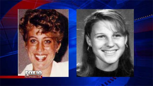 Angela Brosso (left) and Melanie Bernas (right), both found murdered along the Phoenix Canal in 1992 and 1993. Photo courtesy of Fox 10 News.
