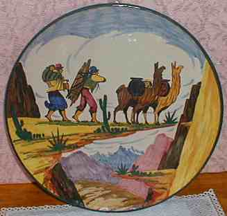 A pottery platter with llamas