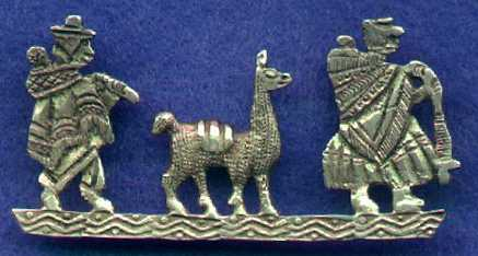A silver pin with a llama on it.