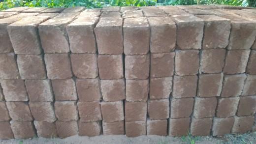 Red laterite cut-stone blocks