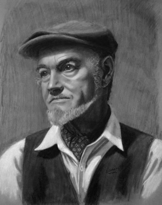 Charcoal portrait of a sailor